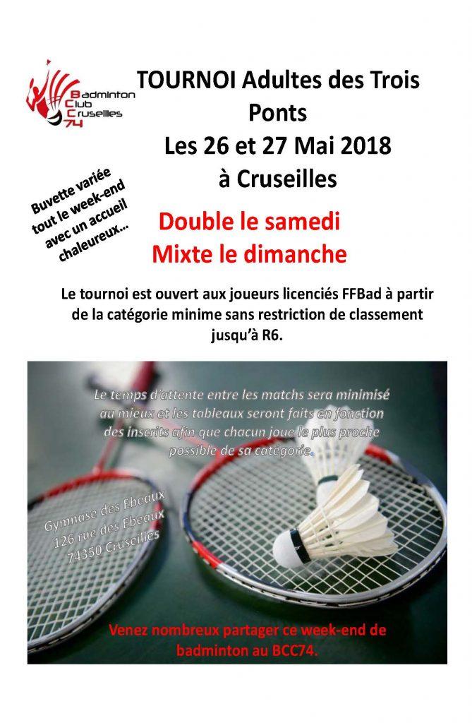 Tournoi adultes des Trois Ponts les 26 et 27 Mai 2018 à Cruseilles (BCC74) @ Cruseilles | Auvergne-Rhône-Alpes | France
