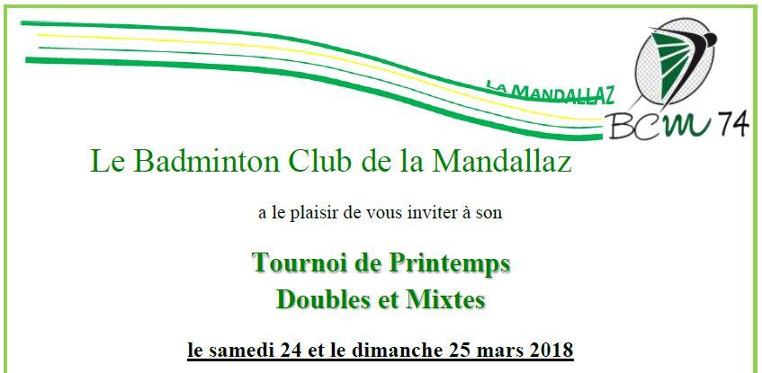 Tournoi de Printemps Doubles et Mixtes - Badminton Club de la Mandallaz - le samedi 24 et le dimanche 25 mars 2018 @ Sillingy | Auvergne-Rhône-Alpes | France