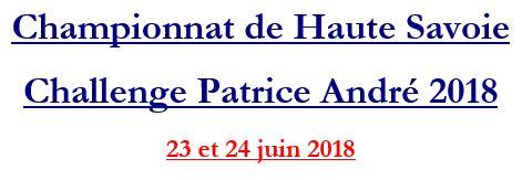 Challenge Patrice André - 23 et 24 juin 2018 - Gymnases de Valleiry et St Julien @ Valleiry   Auvergne-Rhône-Alpes   France