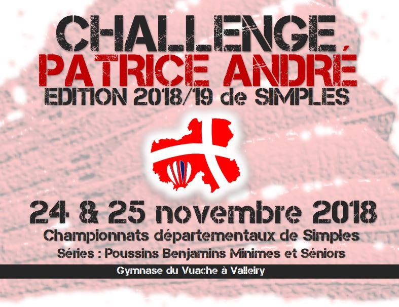Challenge Patrice André - Édition 2018/2019 de Simples - Valleiry - 24 et 25 novembre 2018 @ Valleiry | Auvergne-Rhône-Alpes | France