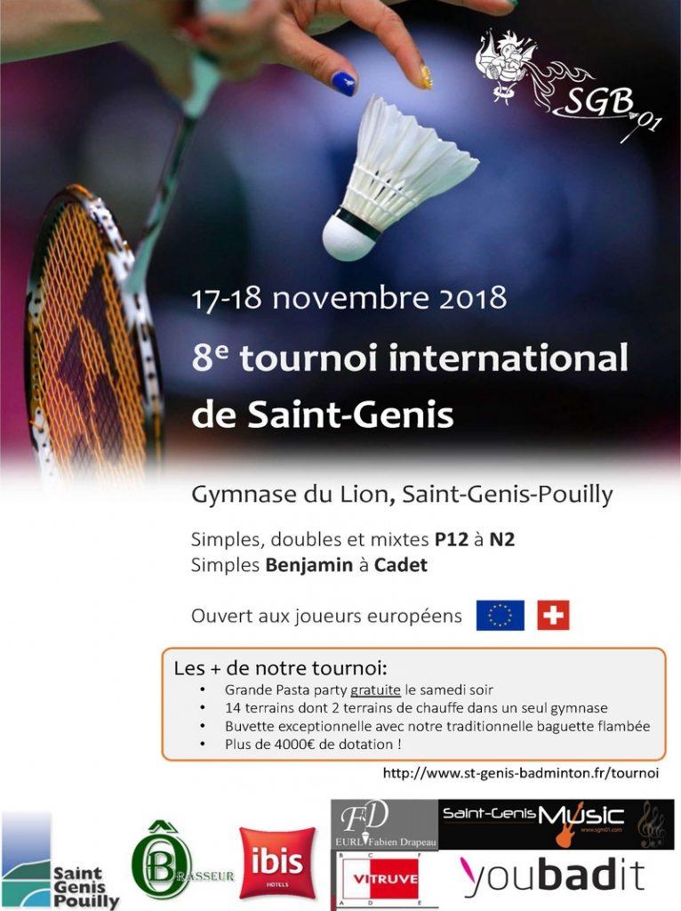 8ème tournoi de Saint-Genis-Pouilly - 17 et 18 novembre 2018 @ Saint-Genis | Provence-Alpes-Côte d'Azur | France