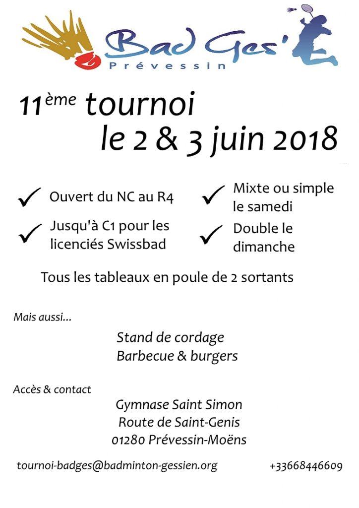 11ème tournoi international du pays de Gex - Club de Prevessin Badmin Gessien (BADGE01) - 2 et 3 juin 2018 @ Prévessin-Moëns   Auvergne-Rhône-Alpes   France